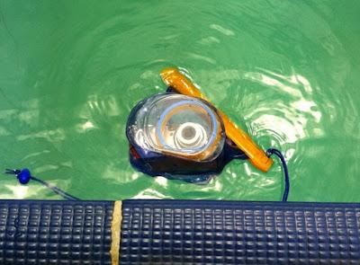 Foto da bolsa plástica boiando em uma piscina, com uma câmera fotográfica dentro dela.