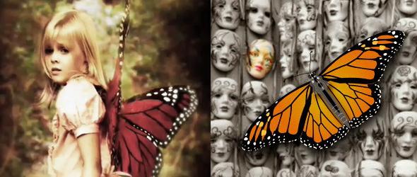 niña víctima de control mental monarca con alas de mariposa en su espalda
