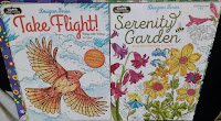 Take Flight! and Serenity Garden coloring books for adults at Dollar Tree