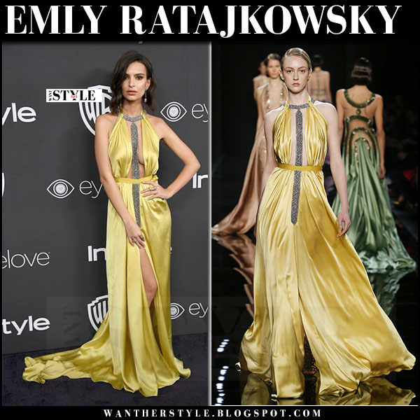 Emily Ratajkowsky yellow satin gown reem acra Golden Globes InStyle Party 2017 what she wore