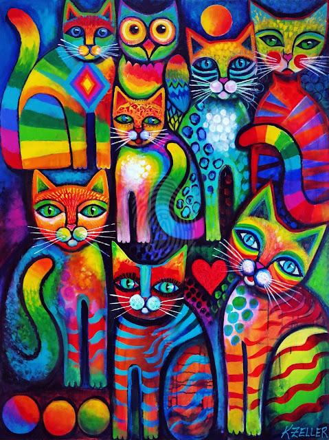 Alice guarda i gatti e i gatti guardano nel sole, mentre il mondo sta  girando senza fretta.