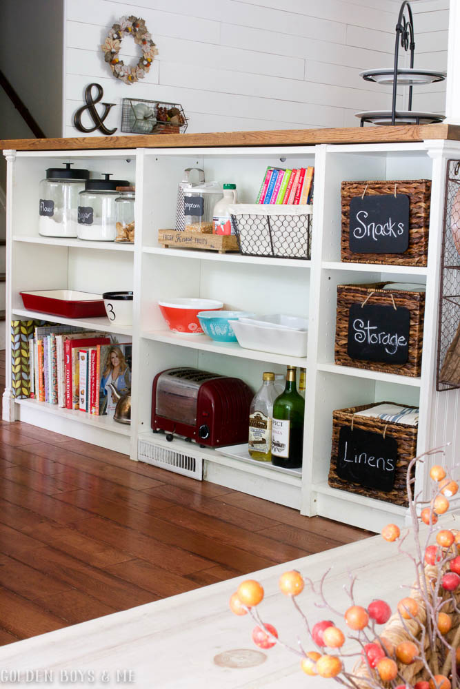 Kitchen storage created with Ikea bookshelves