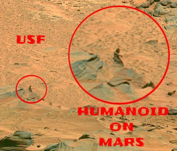 Humanoid figure on Mars caught on camera by the Mars Rover.