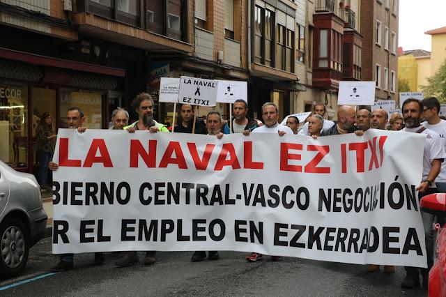 Manifestación en 2017 en Barakaldo contra el cierre de La Naval