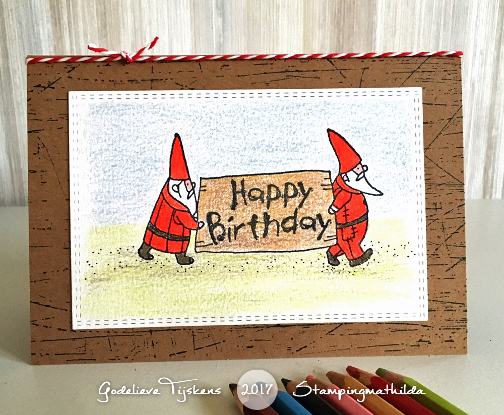 A Birthday Card For Kids Colored In With Pencils I Stamped The Gnomes Black Archival Ink Used Stamp From Darkroom Doors Happy Set On