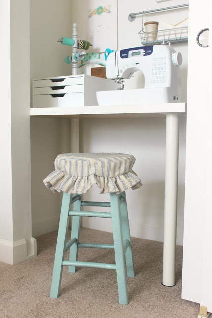 Farmhouse Office and Craft Room Makeover. Beautiful farmhouse desk, a craft closet, and a dreamy wall shelf!