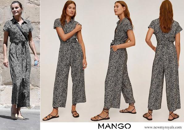 Queen Letizia wore Mango Bow-detail jumpsuit