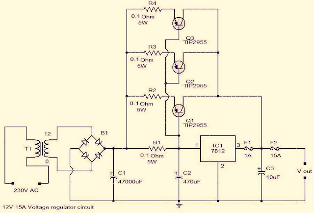 Circuit For Building A Voltage Regulator Using IC LM 7812, 12V-15A Voltage Regulator Circuit