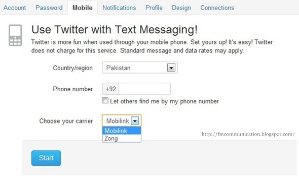 How to configure a mobile number in twitter