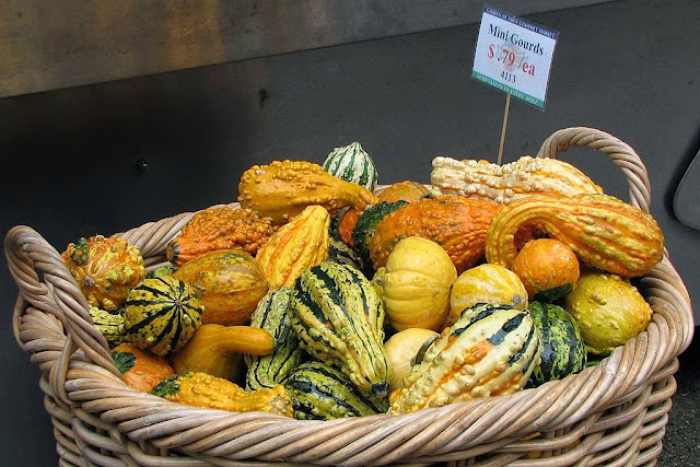 Basket of mini gourds, West 23th Street, New York