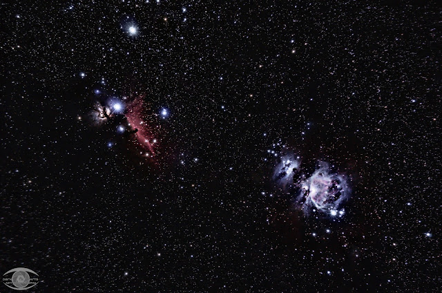 The Hunter's Sword. The Flame, Horsehead, Running Man, and Orion Nebulae.