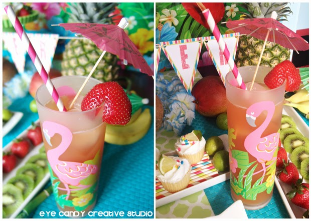 flamingo glasses, drink umbrellas, luau cocktail, luau drink ideas