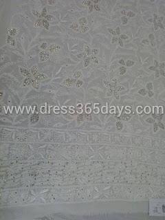 Pure Georgette Chikankari White Kurta fabric +Dupatta in Mukesh Kamdani work