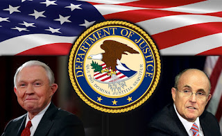 composed image in color of Jeff Sessions, RudyGiuliani, the US Department of Justice seal and the US Flag
