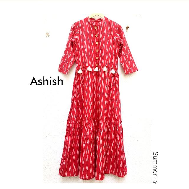 2019 Red Ikat cotton dress Label AshishKumar clothing. Ahmedabad, Indiaabel AshishKumar clothing. Ahmedabad, India