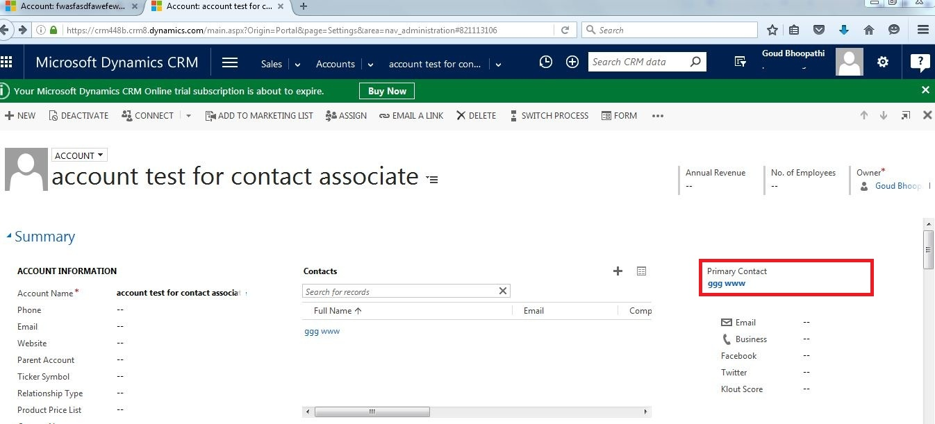 Bhoopathi Goud K Ms Crm Task For On Creation Of Account Create