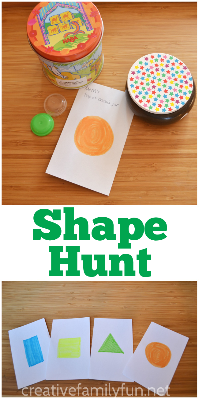 Go on a shape hunt around the house. This is such a fun preschool or toddler activity.