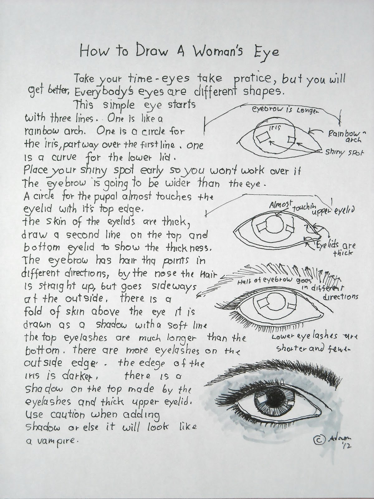 How To Draw A Woman's Eye Worksheet