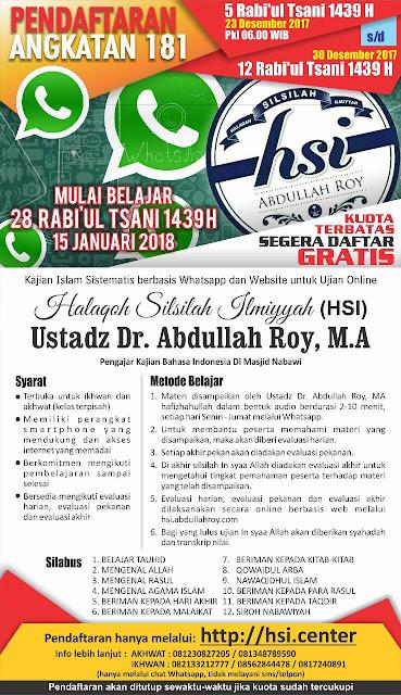 Pendaftaran HSI 181 - Halaqoh Silsilah Ilmiyyah (shared by karyafikri.blogspot.com)