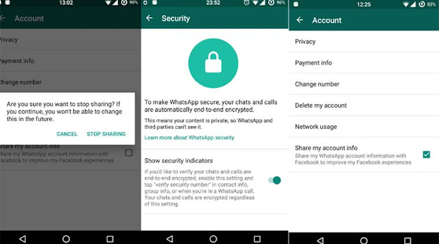 WhatsApp end-to-end security settings indicator