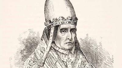 В роли папы римского Сильвестра II монах Герберт что-то совсем не выглядит радостным и счастливым