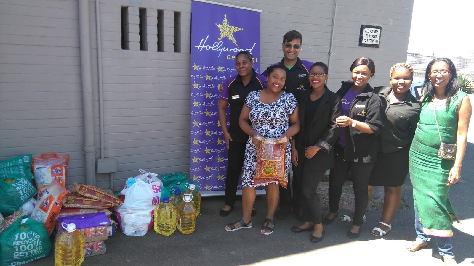 St Thomas Home for Children's staff members are thankful for a donation made by Hollywoodbets Overport