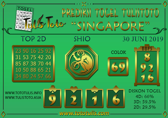 Prediksi Togel SINGAPORE TULISTOTO 30 JUNI 2019