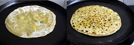 cooking dal paratha