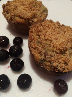 low-carb, blueberry streusel muffin