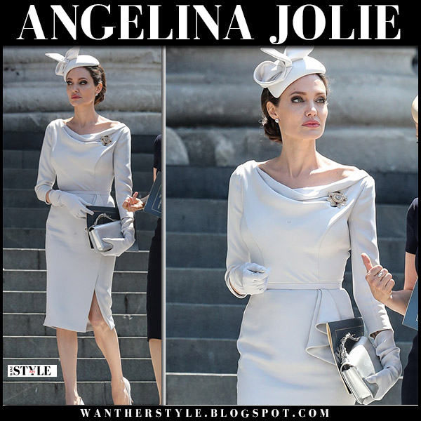 Angelina Jolie in grey pencil dress with silver clutch ralph and russo elegant style june 28