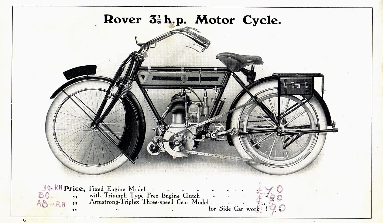 Rover Imperial a 500cc 3.5 horsepower diamond-framed motorcycle