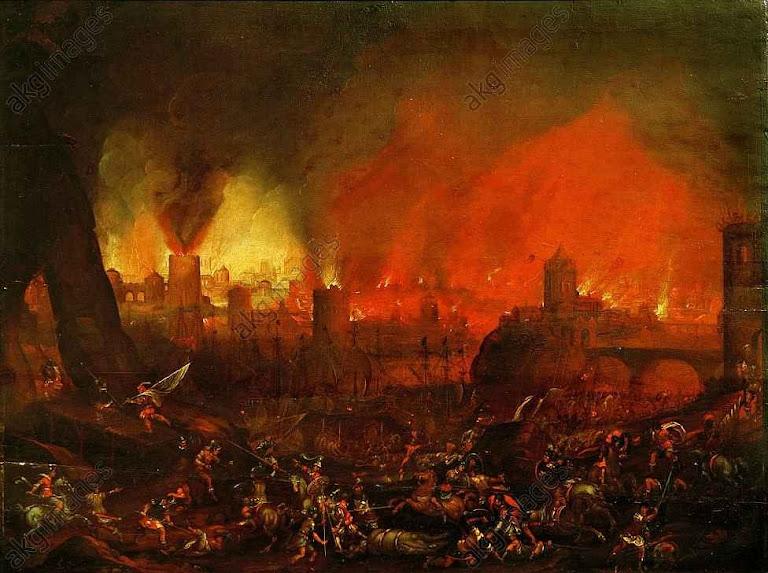 Saque de Roma em 1527. Anônimo italiano séc. XVI-XVII, col. priv.