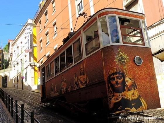 Elevador de Gloria, Barrio de la Baixa, Lisboa, Portugal