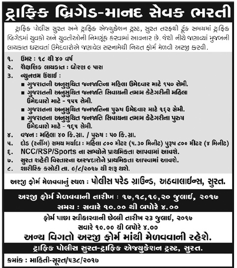 Traffic police surat recruitment 2017 for traffic brigade posts click here to view notification thecheapjerseys Image collections