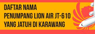 Daftar nama korban pesawat lion air