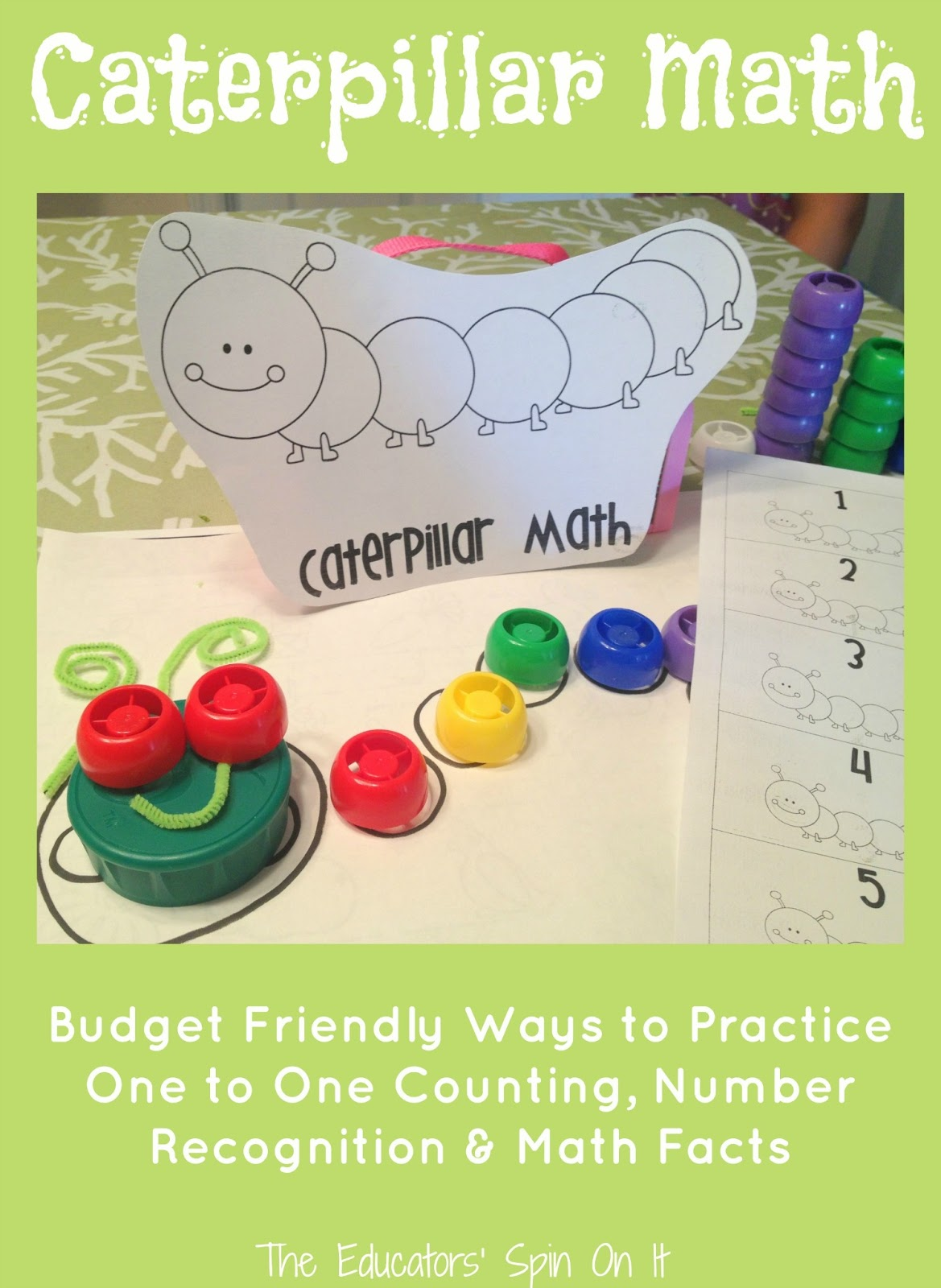 Caterpillar Math With Recycled Lids