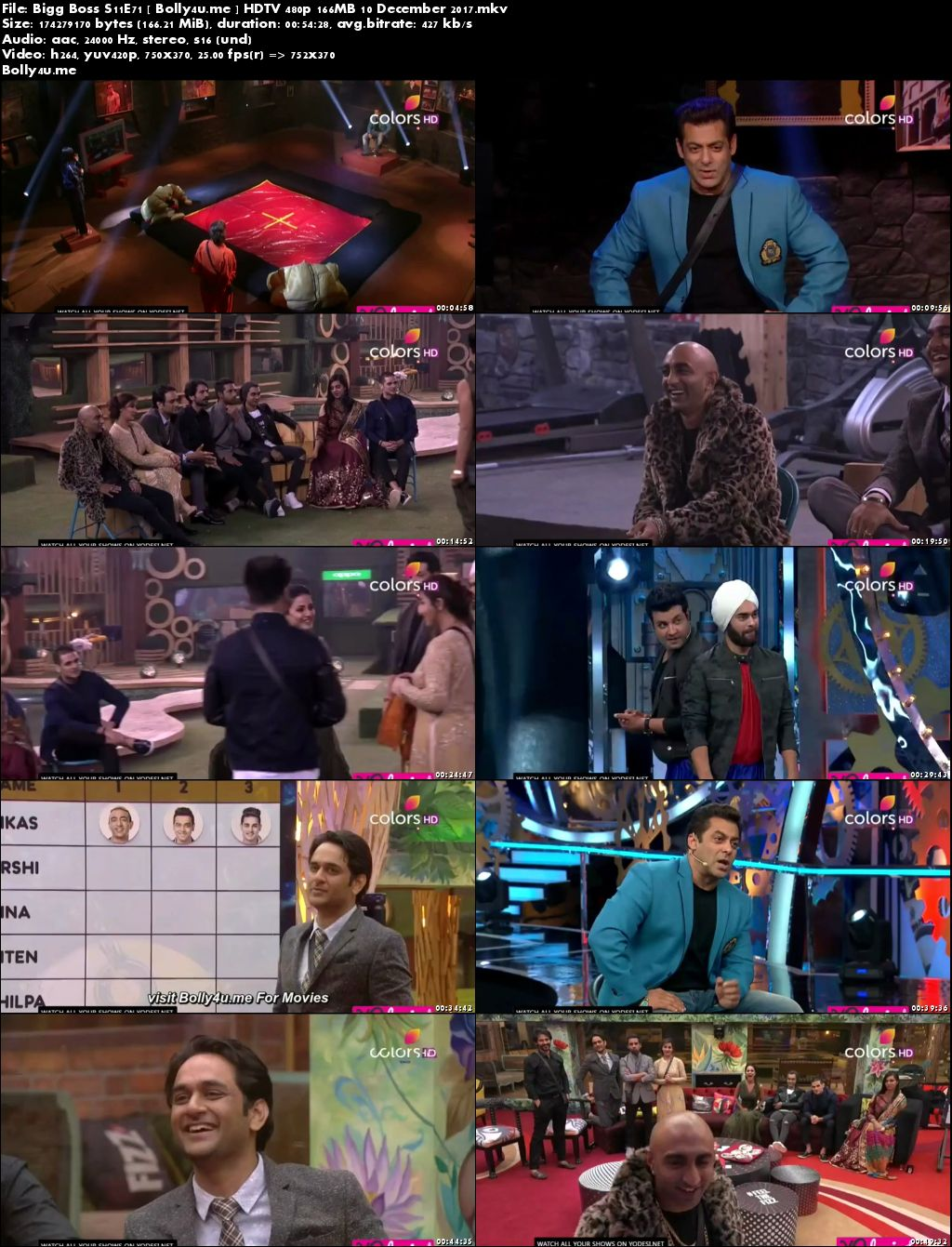 Bigg Boss S11E71 HDTV 480p 160MB 10 Dec 2017 Download