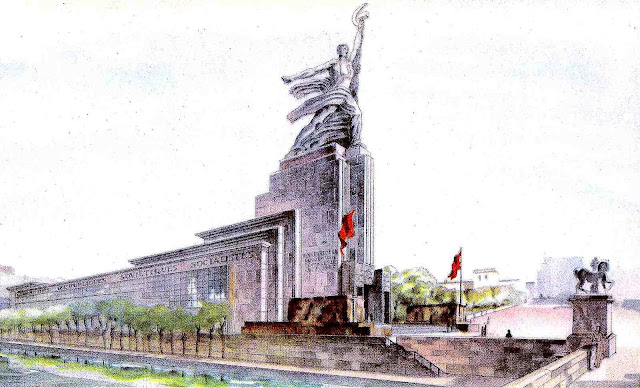 a color illustration of the Soviet pavilion at the 1937 Paris Expo Internationale