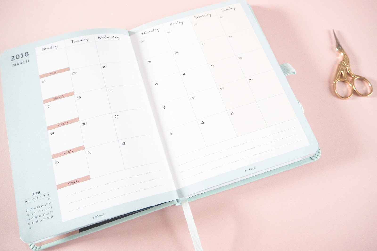 Busy B 2018 Perfect Planner Review - Month to View