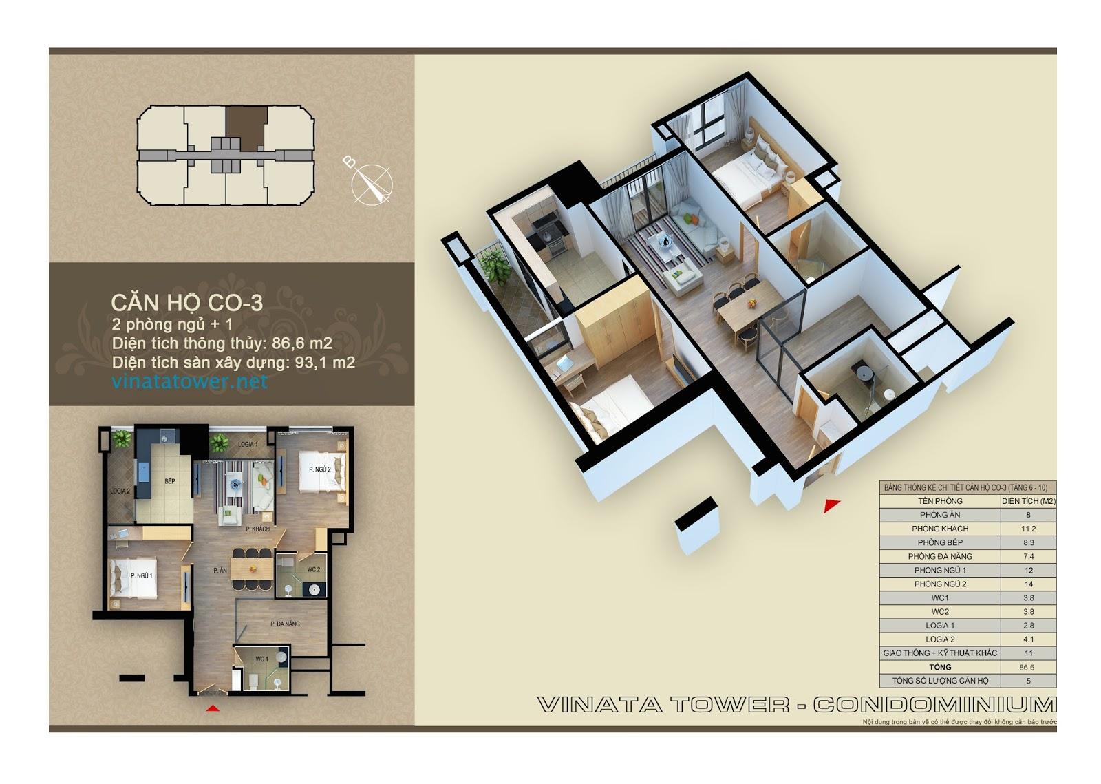 Thiết kế chi tiết căn 03 chung cư Vinata Towers: 86,6m2, 2PN, 1 đa năng, 2VS