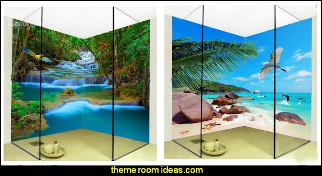 Waterproof wall murals  bathroom wall decal stickers - bathroom floor wallpaper murals - bathroom wall murals