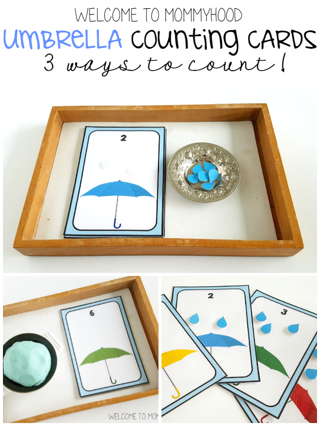 Spring activities: Umbrella number cards by Welcome to Mommyhood #montessori, #preschoolactivities, #numbersactivities, #toddleractivities, #totlabs, #springactivities