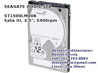 Disco Duro para PS3 1.5TB Seagate ST1500LM006 la maxima capacidad para PS3, venta precio oferta Lima Peru