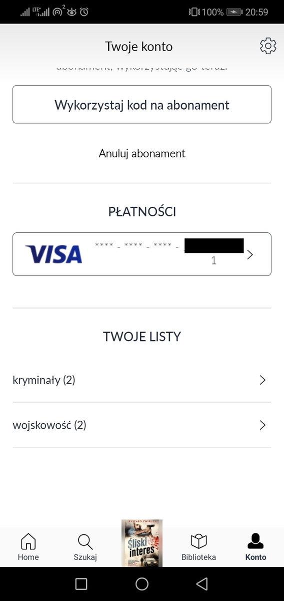 aplikacja Empik Go - widok zakładki konto
