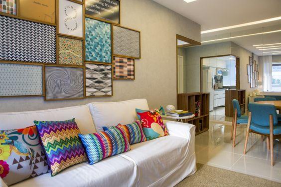 Sala De Estar Com Quadros ~ Decoração da sala com almofadas geométricas  Jeito de Casa  Blog