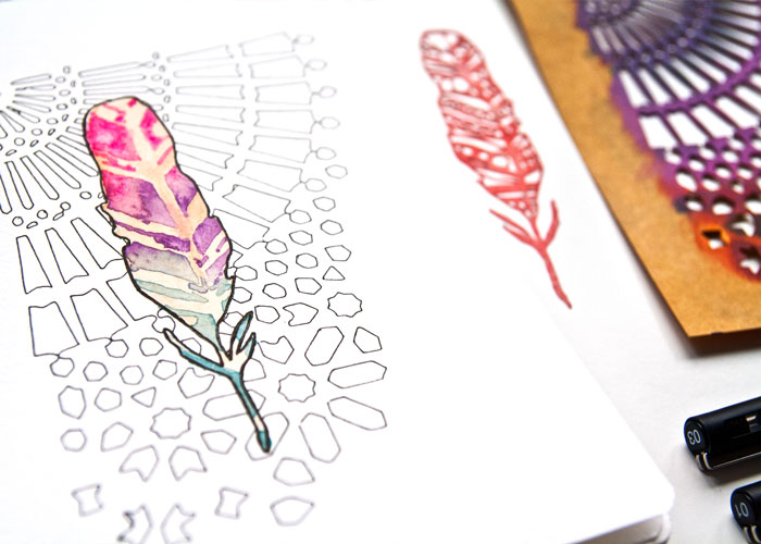 Sketchbook or art journaling with stencils and watercolour by Kim Dellow
