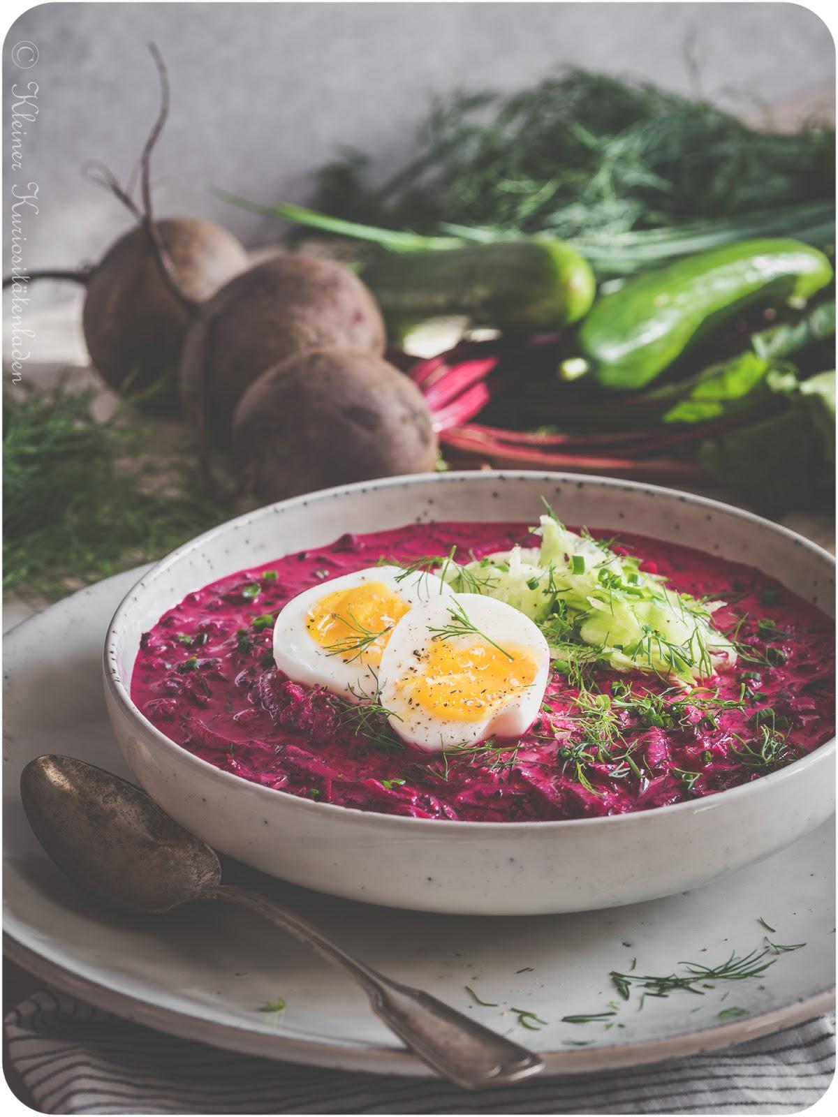 Chlodnik | Kalte Rote-Bete-Suppe mit wachsweichem Ei