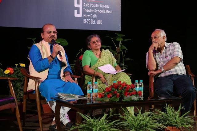 Prof. Waman Kendre, Director,NSD,Tripurari Sharma, Professor, NSD & Ashok Sagar Bhagat, an NSD alumnus